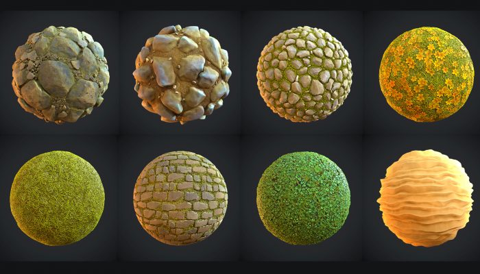 land_mix pack of 14 stylized materials