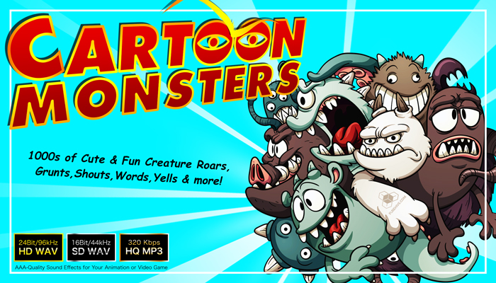 CARTOON MONSTERS – Cute Fun Silly Creature Character Voices Sample Pack – Comedy Halloween Sound Effects Library [Fusehive.com]