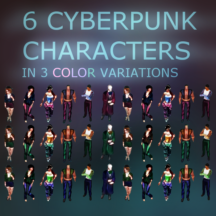 6 Cyberpunk Characters in 3 Color Variations