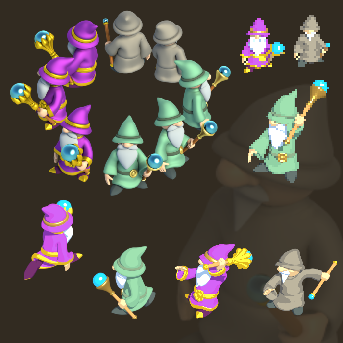 Wizard Cartoon – Isometric (8 Directions)