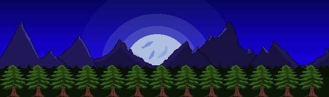 Night/Moon/Mountains Background in Pixel Art