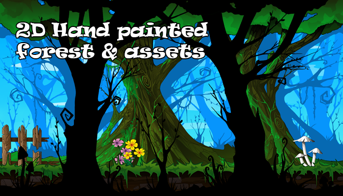 2D Hand Painted Forest & Assets
