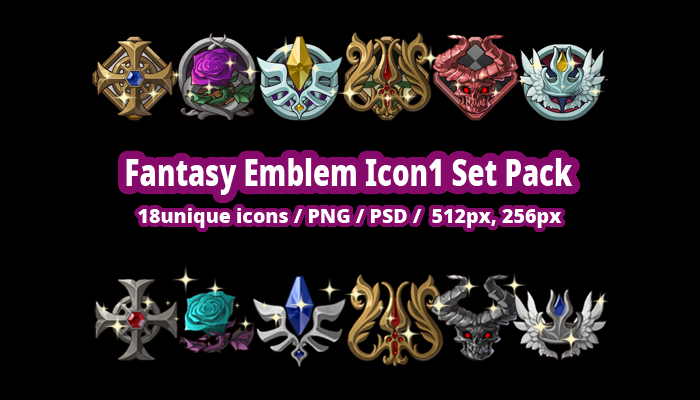 Fantasy Emblem Icon1 Set Pack