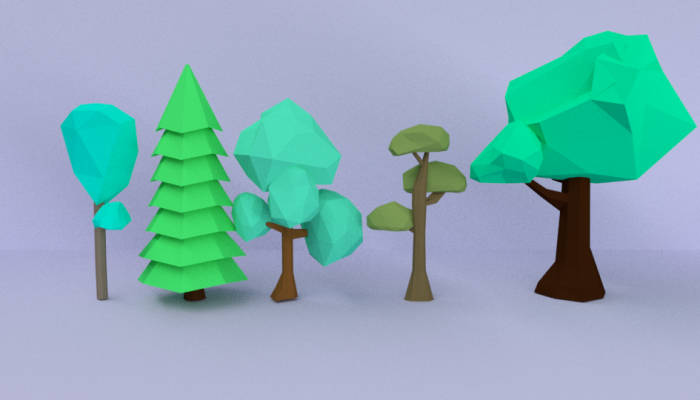 3D Model – Low Poly Cartoon Trees Pack