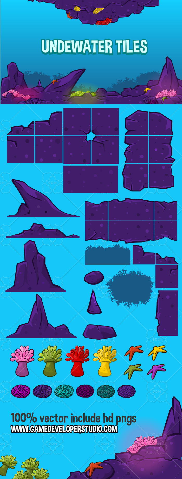 Underwater tile set
