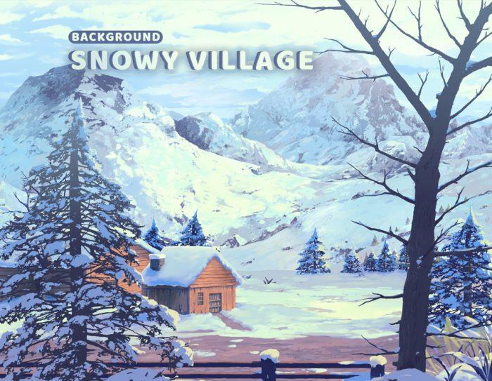Snowy Village – Game Background