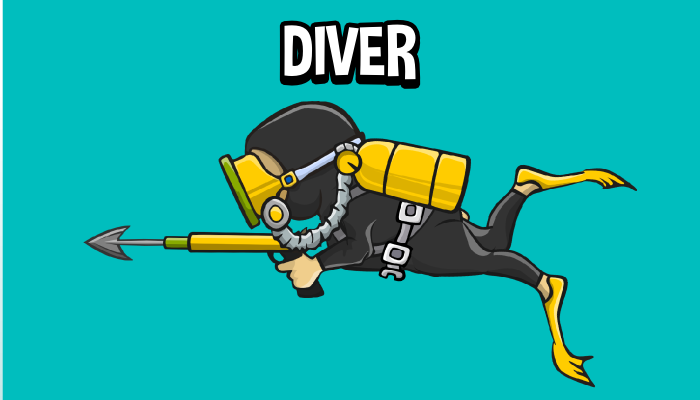 Animated diver