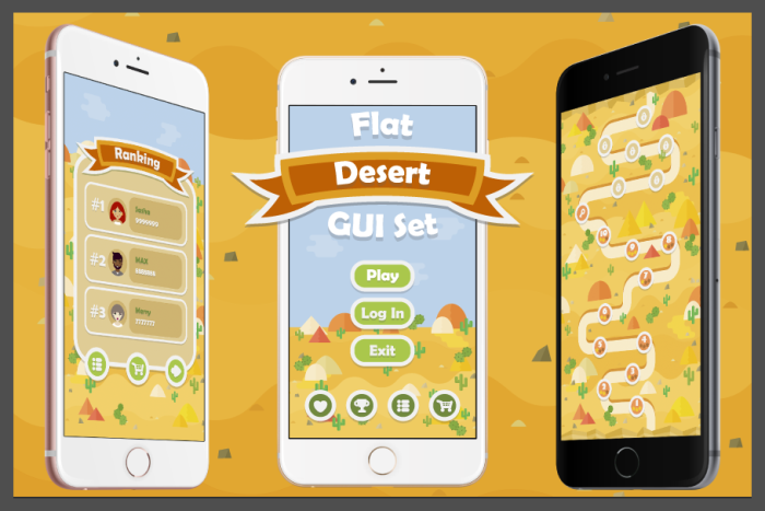 Flat Desert Game User Interface Set