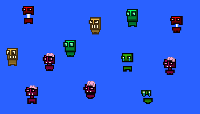 16×16 Monster Set (10 Animated monsters)