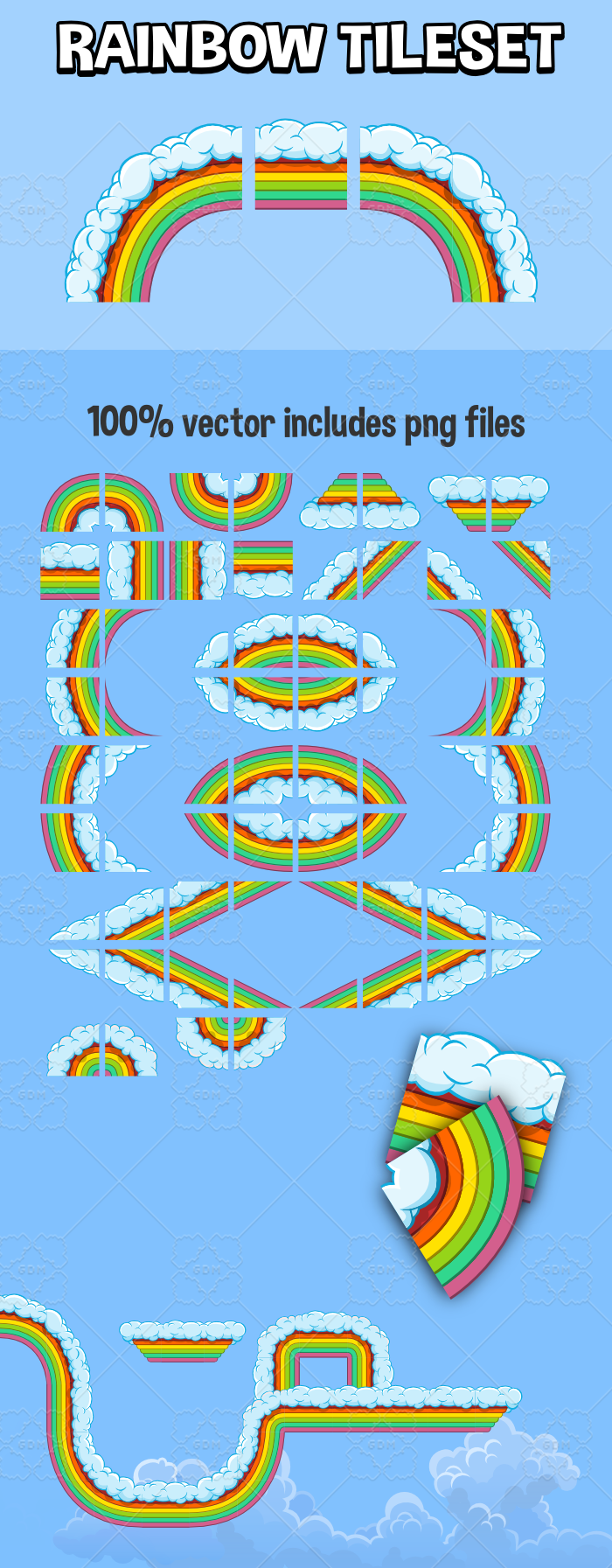 rainbow tile set for sd game development