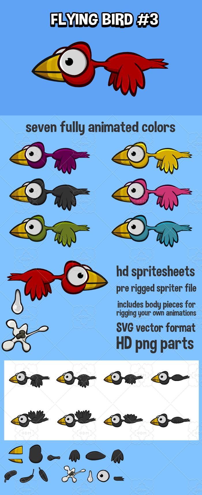 Animated flying bird 3