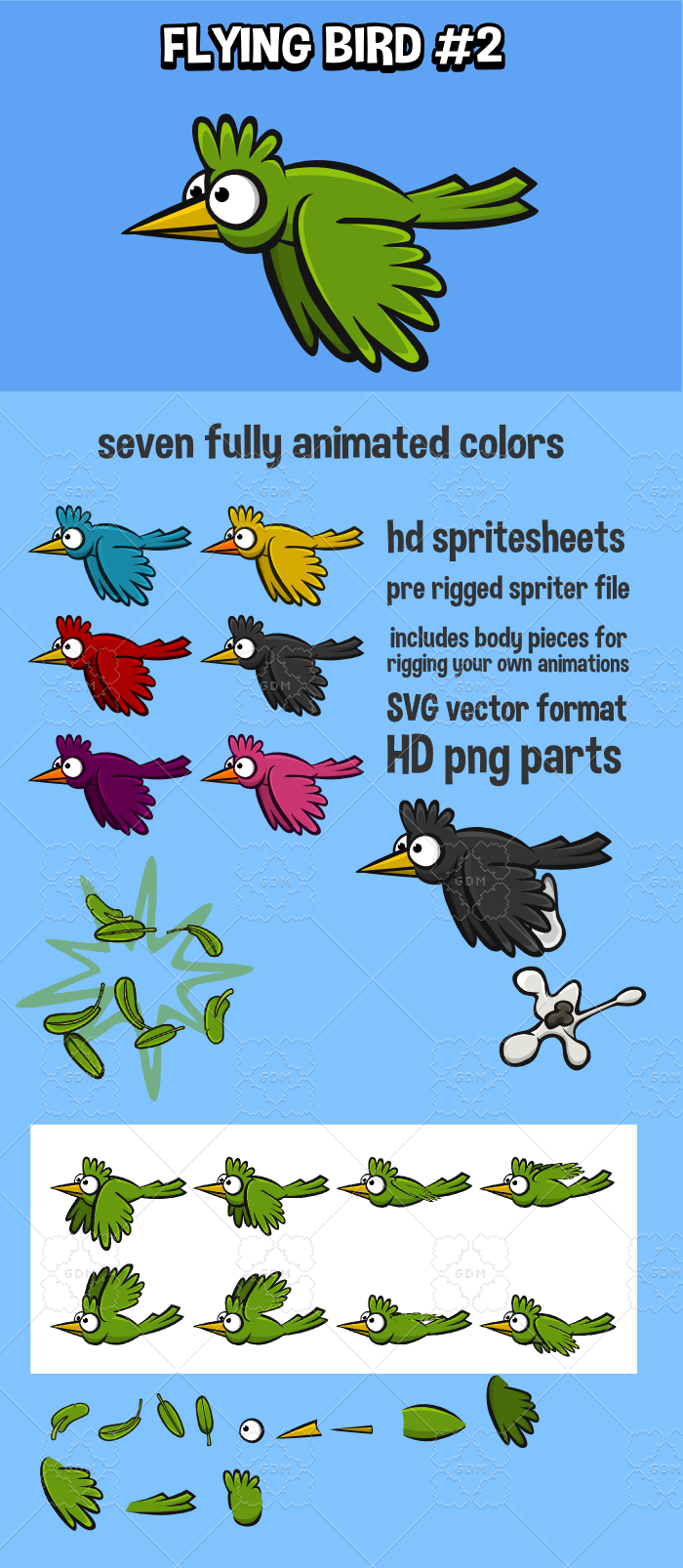 Animated flying bird 2