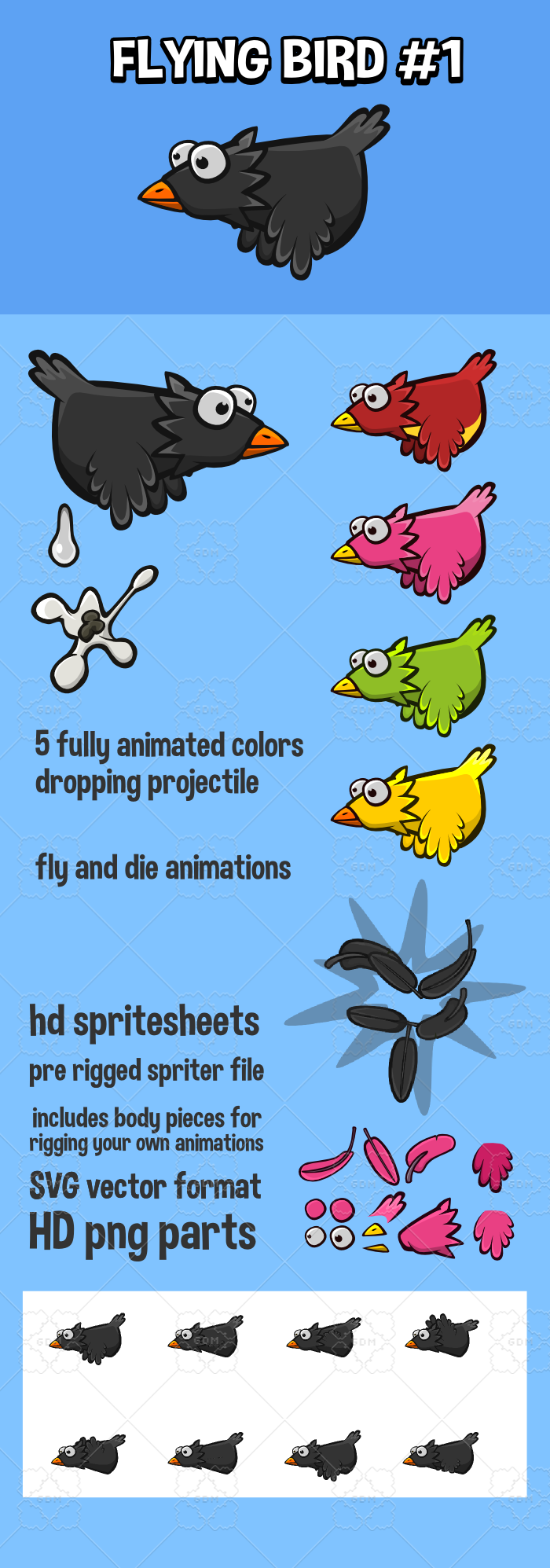 Animated flying bird
