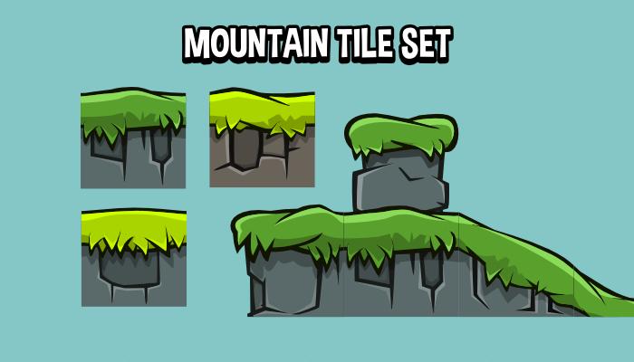 Mountain scene 2d game tile set