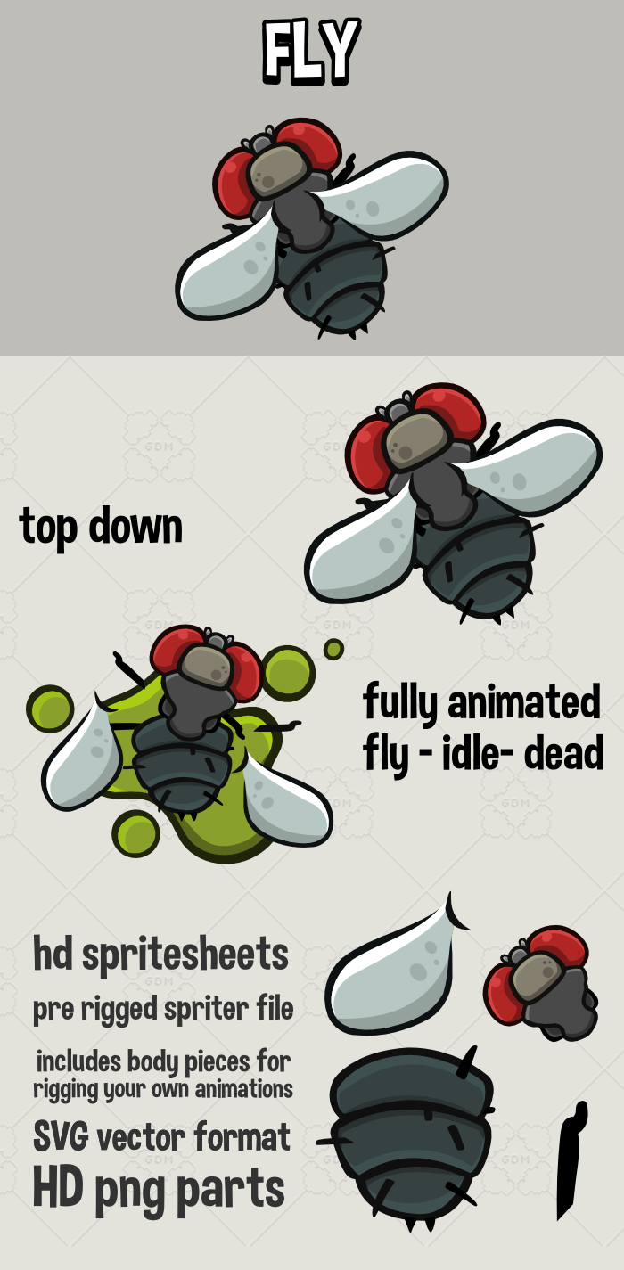 2d top down animated fly