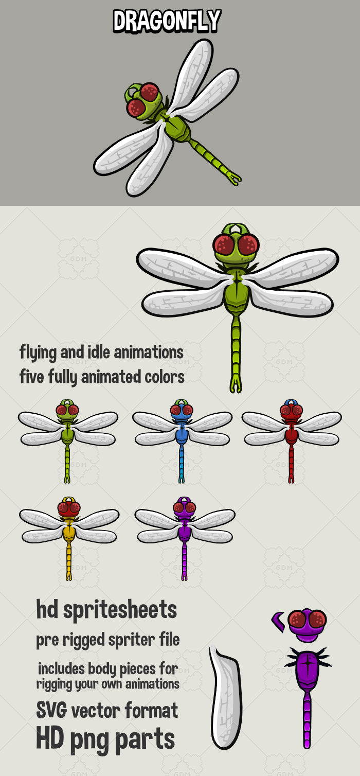 Top down dragonfly game sprite