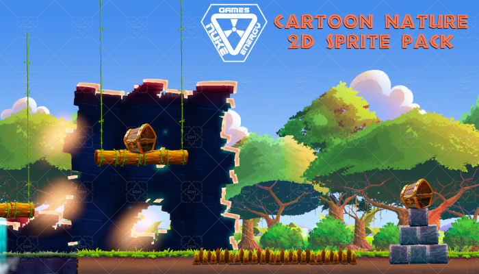 Background Cartoon Nature 2D Sprite Pack