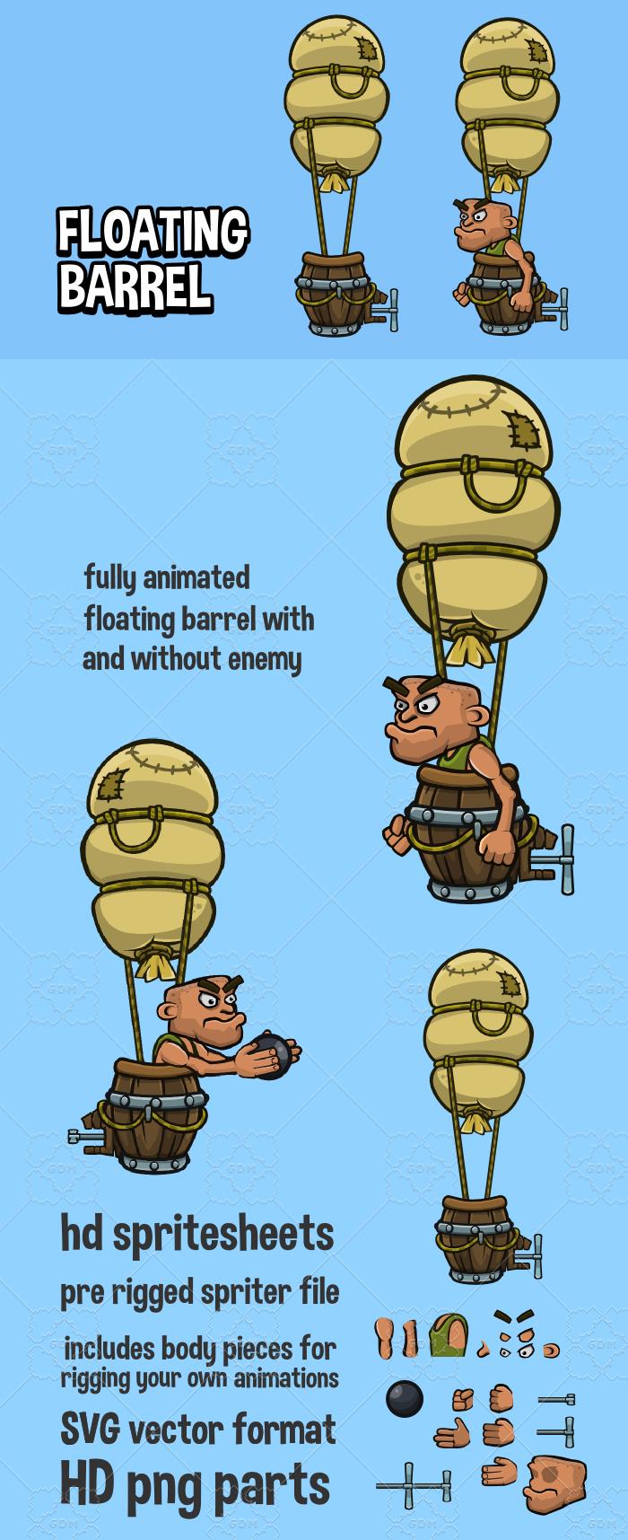 Animated floating barrel