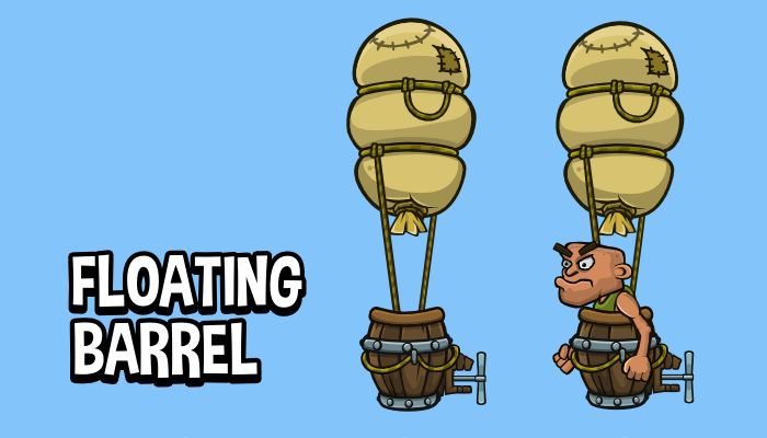 Animated floating barrel