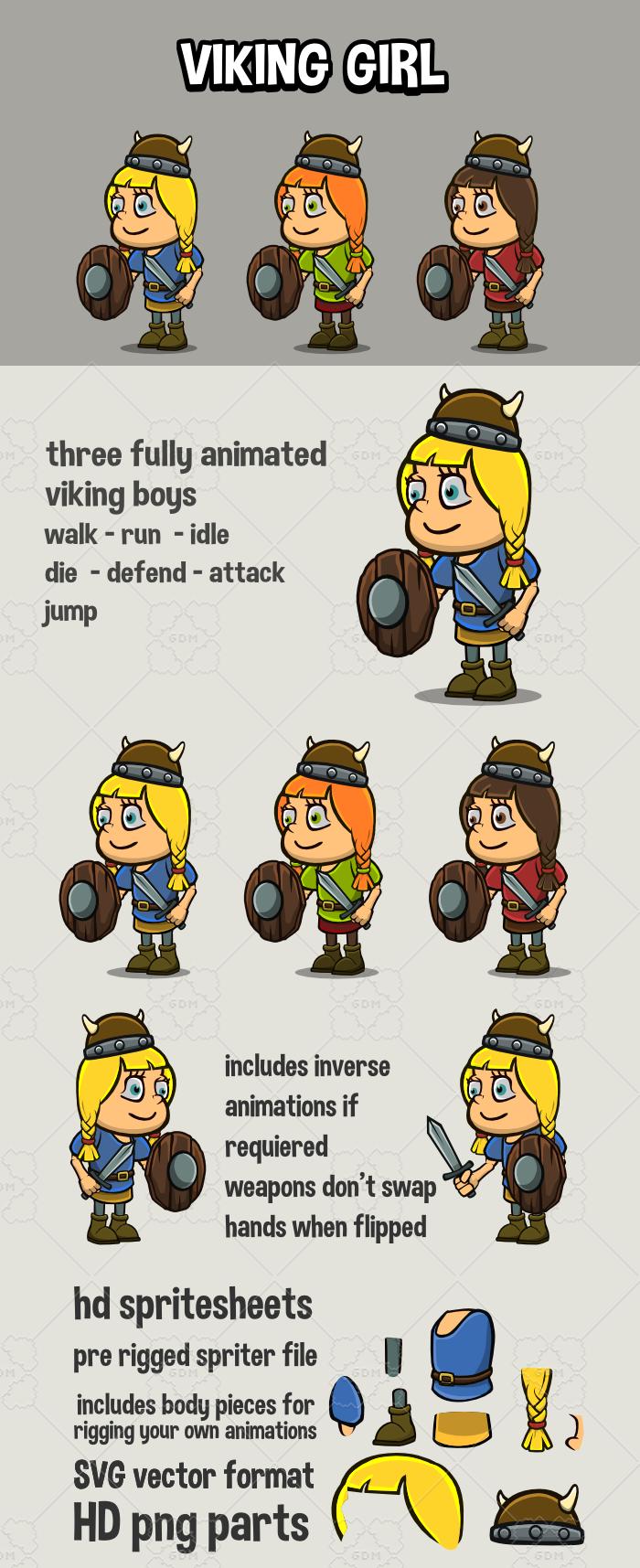 Animated viking girl