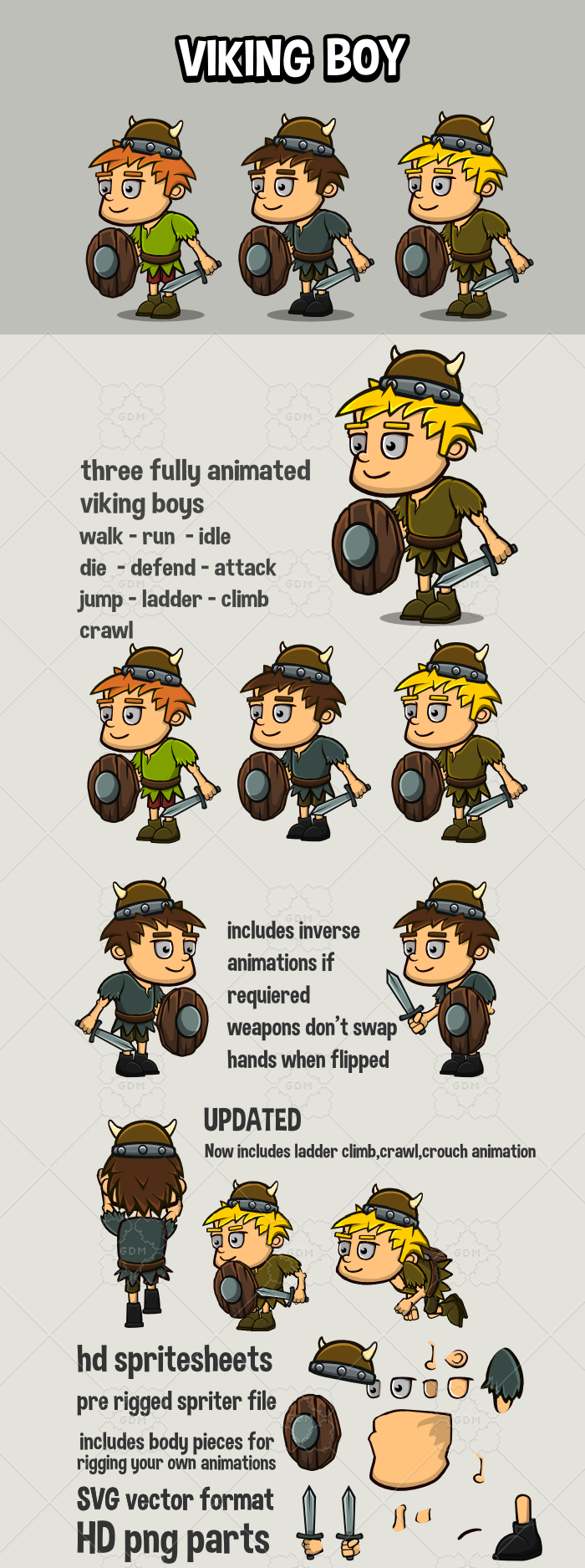 Animated viking boy