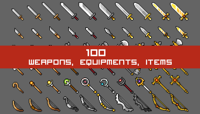 100 Weapons, Equipments and Items Icon Set