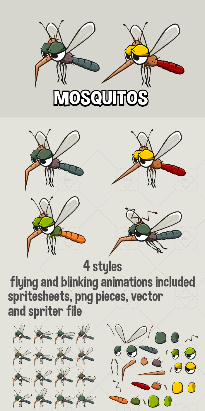 Animated mosquitoes