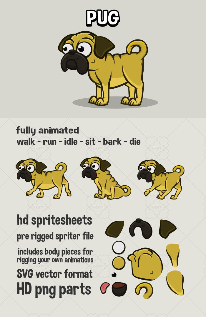Animated pug