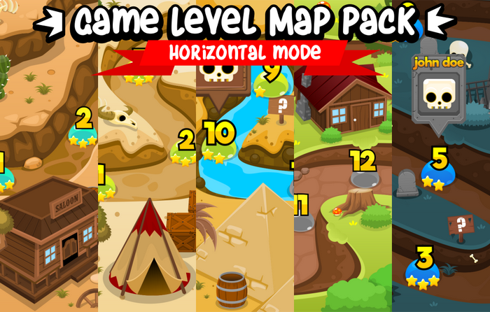 Game Level Map Pack – Horizontal Mode