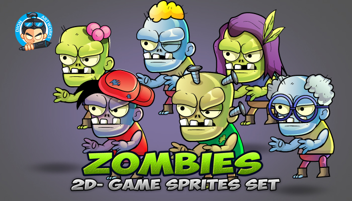 6 Zombies Game Character Sprites Set