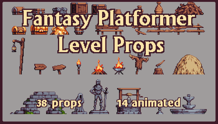 Fantasy Platformer Pixelart Props