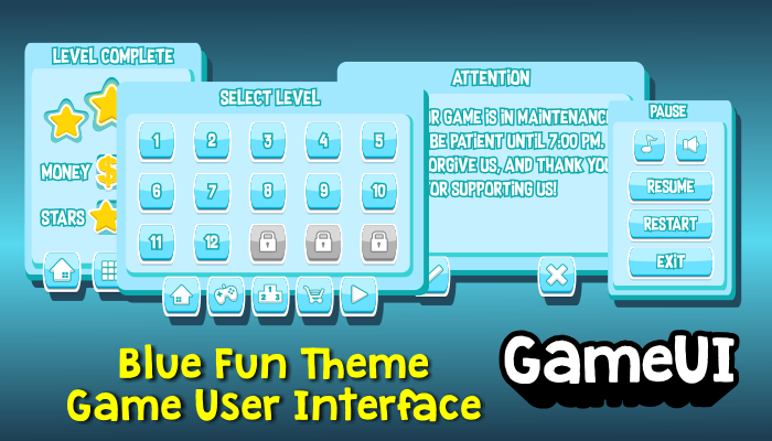 Blue Fun Theme Game UI