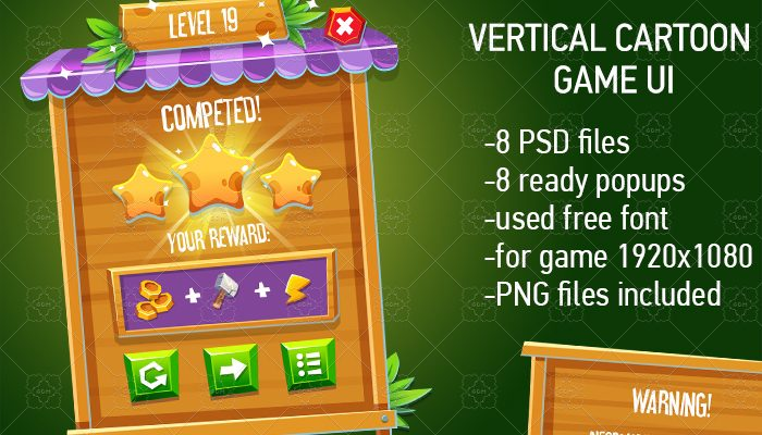 CASUAL WOODEN GAME INTERFACE Vertical Mode