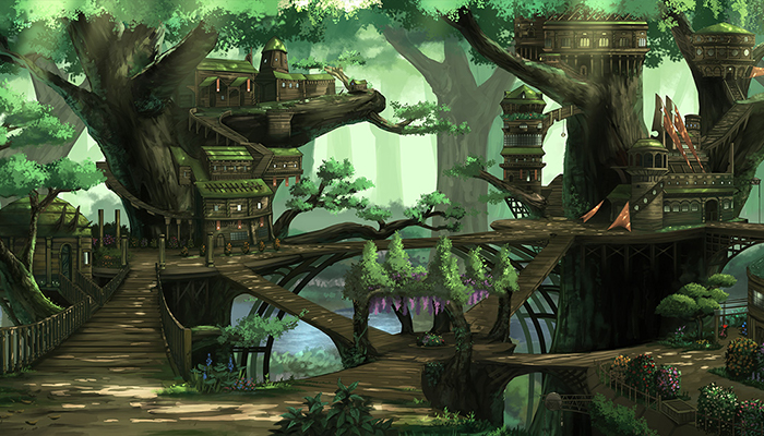 Fantasy Treehouse City – High Quality Parallax Background