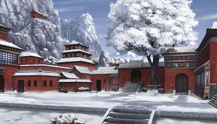 Mountainside Temple City – High Quality Parallax Background
