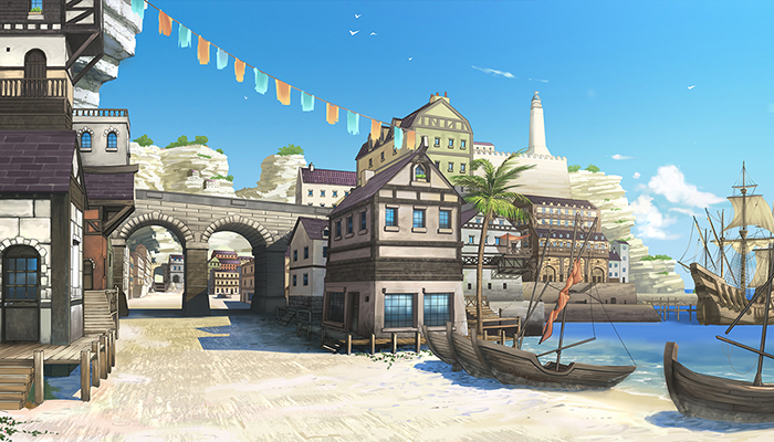 Seaside Port City – High Quality Parallax Background