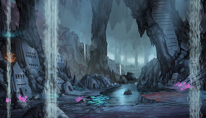 Underground Cave City – High Quality Parallax Background