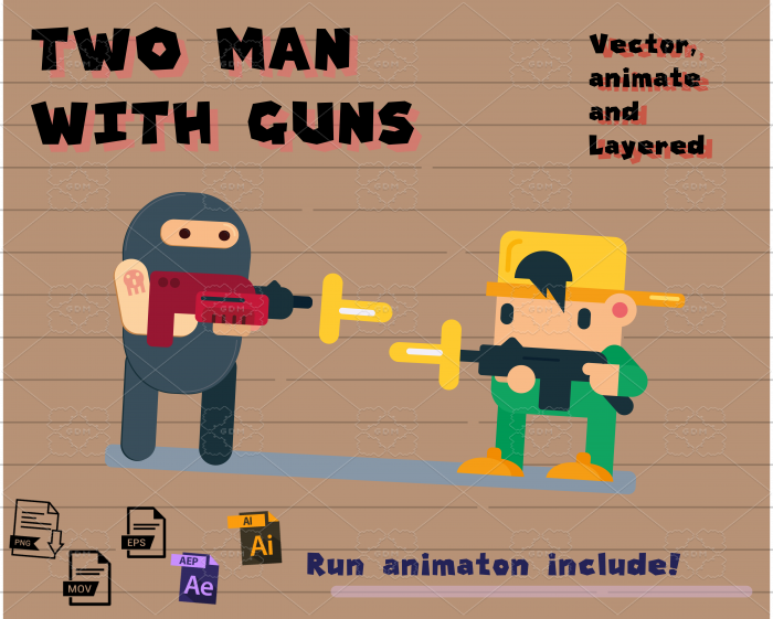 Two flat man with guns