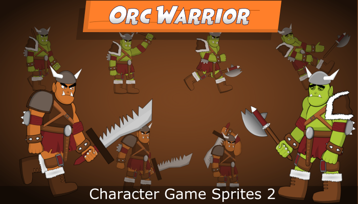 Cartoon Orc Warrior Character Game Sprites 2