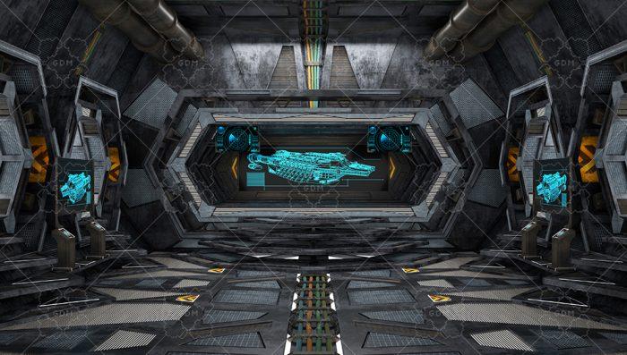 Destroyer. Large spaceship interior.