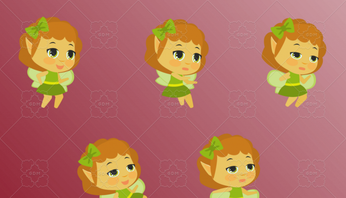 Green Fairy Chibi 2D Character Animated Sprite Pack