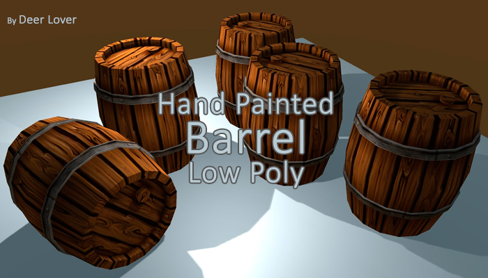 Hand Painted Barrel Low Poly