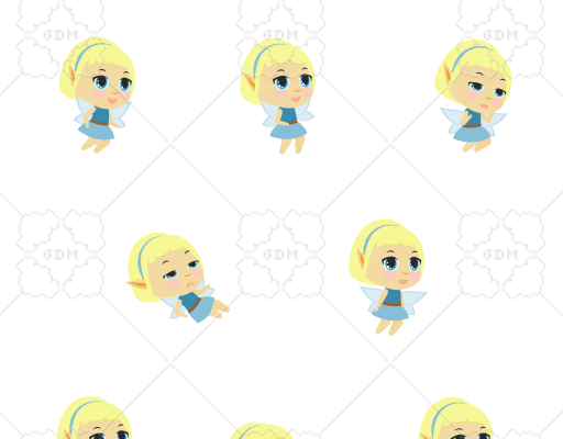 Blue Fairy Chibi 2D Animated Sprite Pack and Sprite Sheet