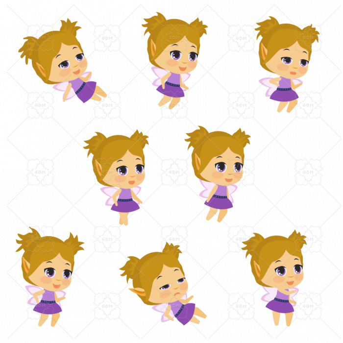 Purple Fairy Chibi 2D Animated Sprite Pack, Animated GIFs and Sprite Sheet