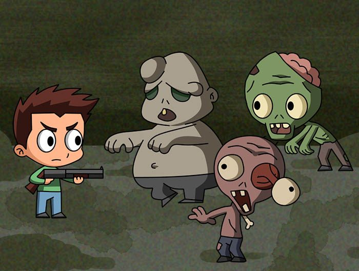 2D Hero and Zombies