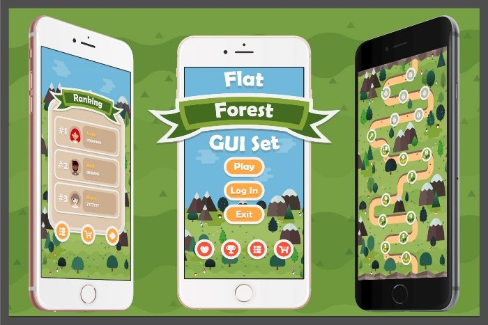 Flat Forest Game User Interface Set