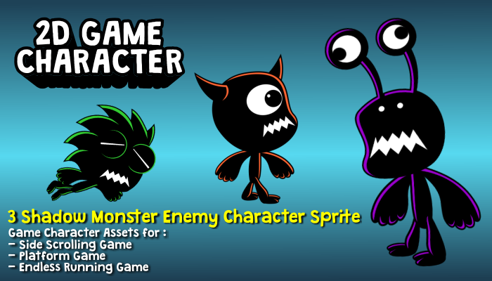 3 Shadow Monster Enemy Character Sprite