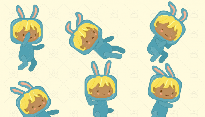 2D Animated Sprite Pack – blonde kid in cute blue bunny costume