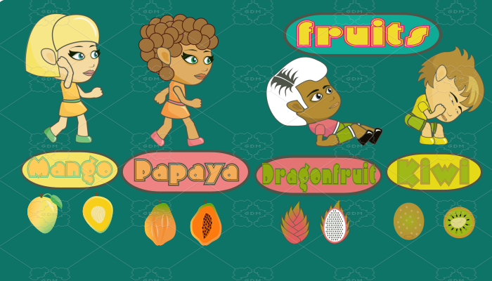 Fruits 2d Animated Game Four-Character Asset Set