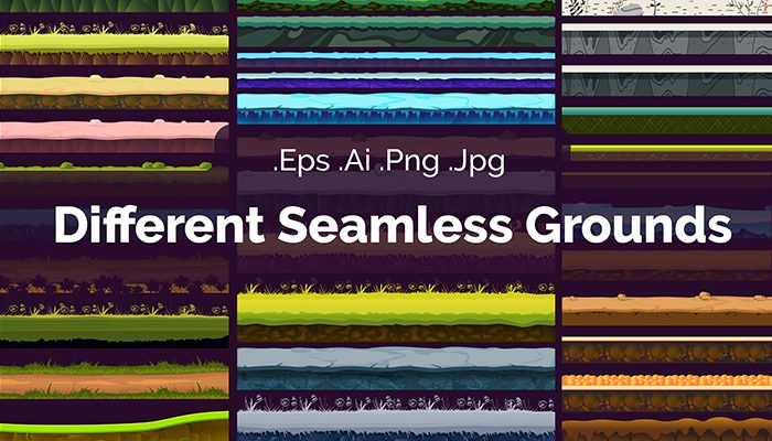 Different Seamless Grounds, 100% Vector Set For UI Games